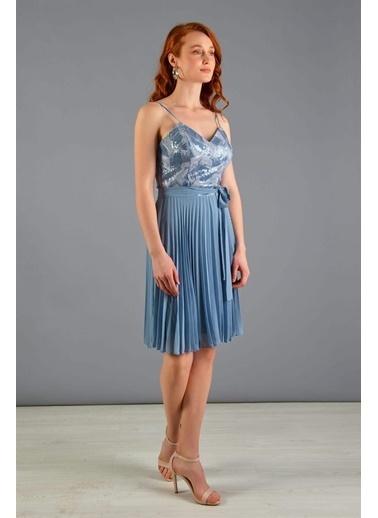Carmen Mavi Payet Işlemeli Kurdelalı Kısa Mezuniyet Elbisesi Mavi